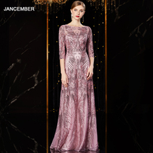 J1952 jancember cheap evening dress long o neck half sleeve pattren sequin lace ladies party dresses kleider damen abendkleid