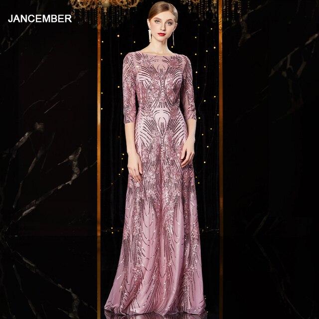 J1952 jancember זול שמלת ערב ארוך o צוואר חצי שרוול pattren נצנצים תחרה גבירותיי המפלגה שמלות kleider דמן abendkleid