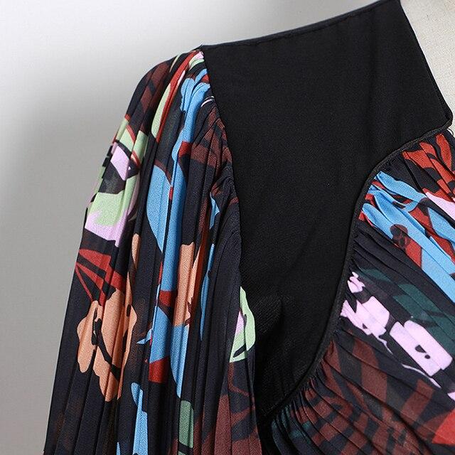HERVORRAGENDE QUALITÄT 2020 Designer Stilvolle Tops Für Frauen Quadrat Kragen Floral Print Drapieren Bluse Top