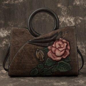 Image 2 - Johnature Retro Handmade Genuine Leather Women Handbag 2020 New Casual Tote Large Capacity High Quality Shoulder&crossbody Bags