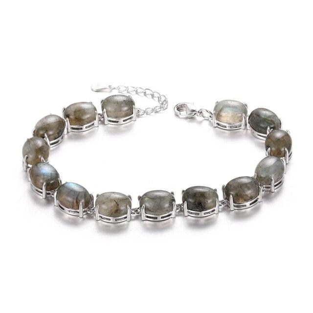 Bracelet Pierres Porte-Bonheur Labradorite Plat