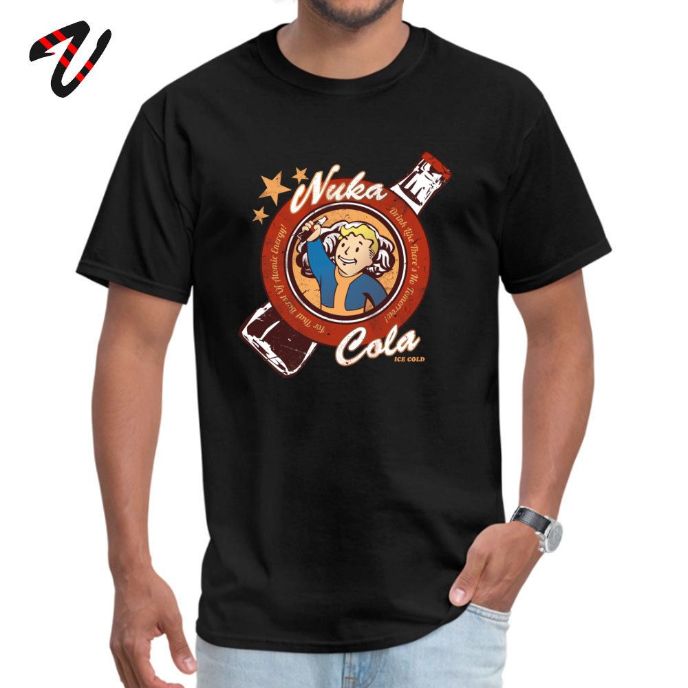 Fallout Vault Boy T-shirt Men Drink Cola 100% Cotton Mens Tshirts Luxury Short Sleeve T Shirt High Quality Slim Fit Tees Game image
