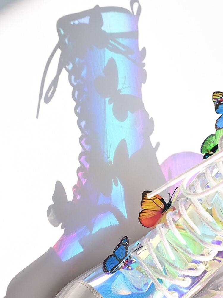 2020 Новое поступление ботинок прозрачные Красочные бабочки плоские короткие ботинки с круглым носком на рифленой подошве на шнуровке Новая ... - 2