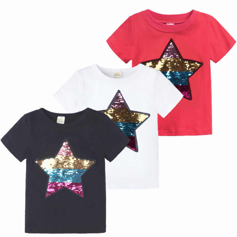 3 Colors New Arrival Kids Children's Clothing Boys Girls Star Pattern Sequins Decoration T-shirt Cotton O-Neck Short-sleeved Tee