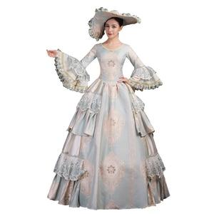 Высококачественное бальное платье с надписью «Court Rococo» в стиле барокко, Мария-Антуанетта, бальное платье 18-го века, времен исторического воз...