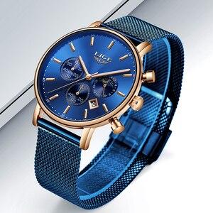 Image 3 - LIGE 2019 kadın moda mavi quartz saat bayan örgü kordonlu saat yüksek kaliteli rahat su geçirmez kol saati kadın izle Reloj Mujer