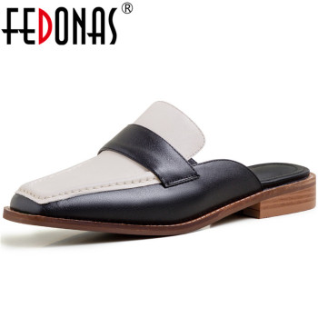 FEDONAS  Women 2020 Classic Design Genuine Leather Mules Slippers Thick Heels Square Toe Pumps  Summer Sandals Shoes Woman