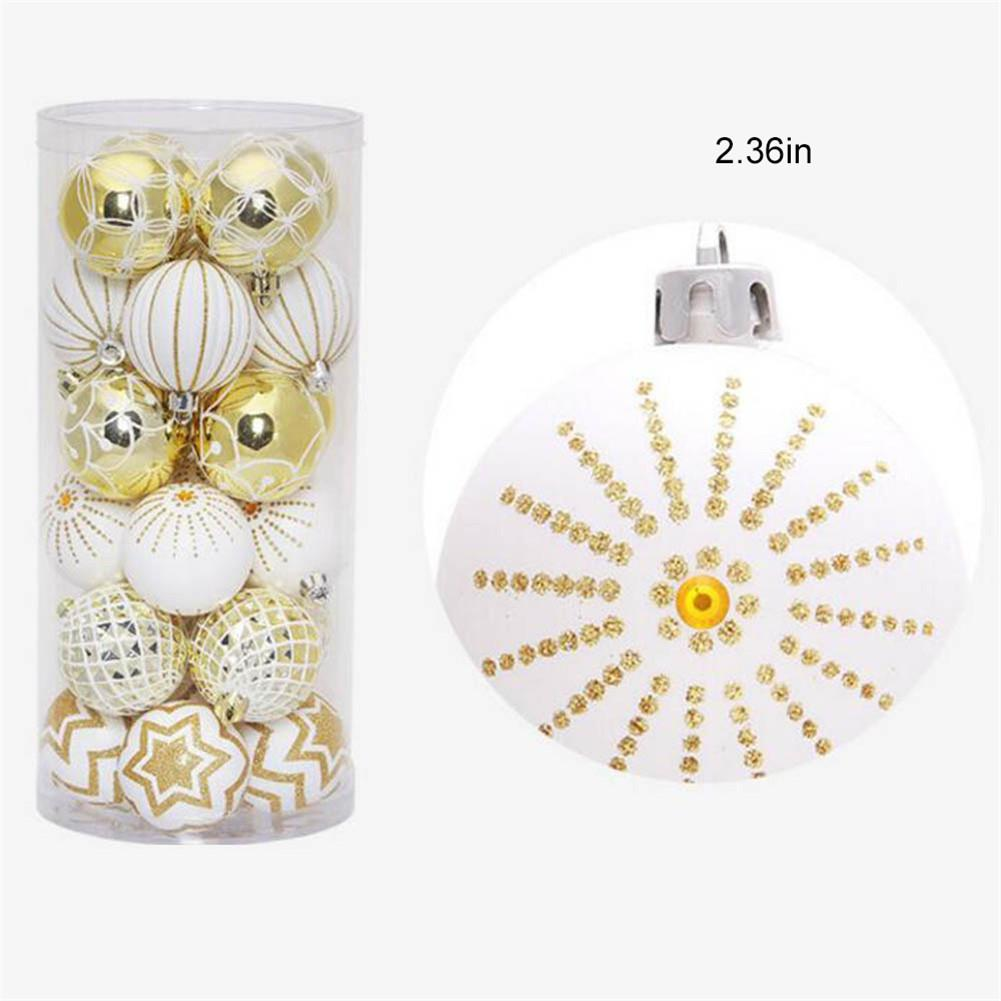 30Pcs Christmas Decorations Ball White Gold Mixed Christmas Tree Pendant Balls Party Window Home Furnish Hanging Ornament