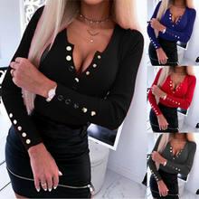 Delle donne Del Faux Button Scollo A V T-Shirt Primavera Manica Lunga A Costine Lavorato A Maglia Top 2020 di Autunno della Molla Sottile Elegante Pullover Pulsante T Shirt