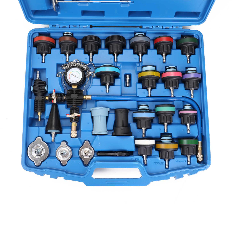 VISLONE 28pcs Universal Radiator Pressure Tester Vacuum Type Cooling System Test Detector Kits