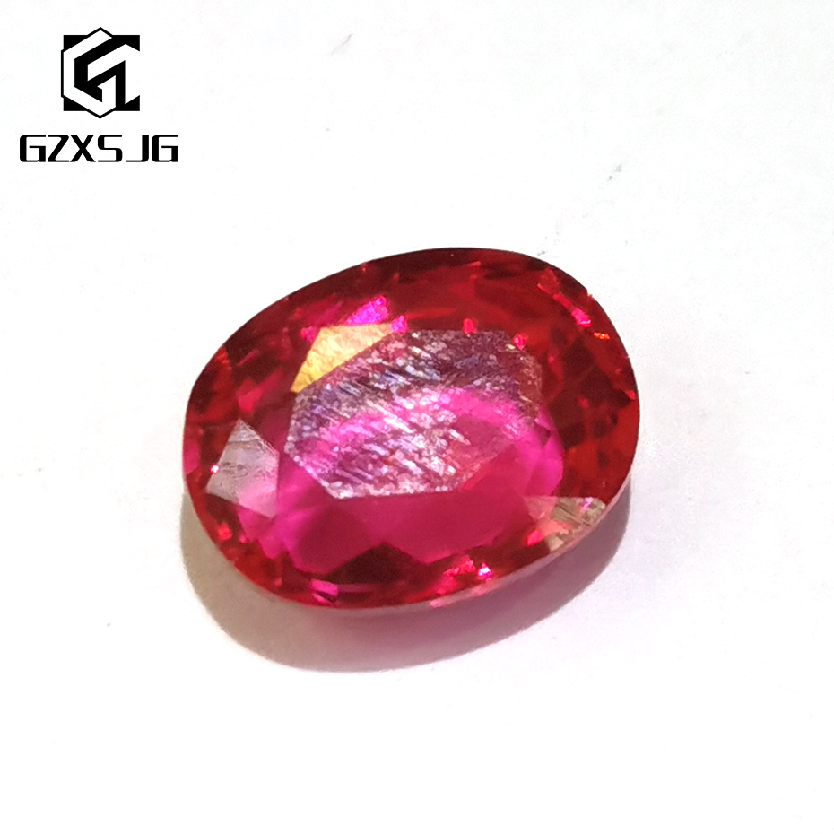 GZXSJG 8x10mm Hydrothermal Created Red Blood Ruby for Jewelry Ring Lab Grown Loose Gemstone oval ruby for Customize Jewelry DIY