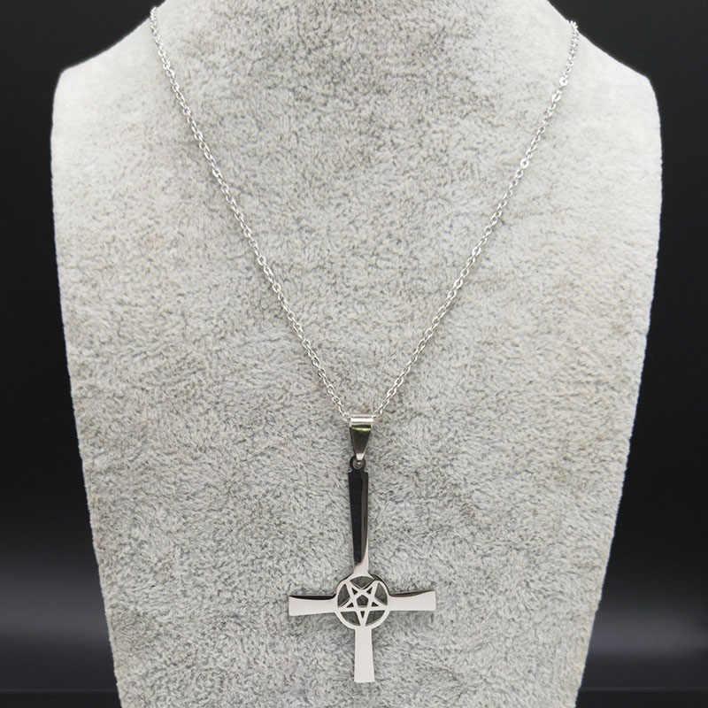 反転クロスオカルト五角形ステンレス鋼チェーンネックレス女性悪魔ゴシックサタンネックレスジュエリーコルガンテ N19678
