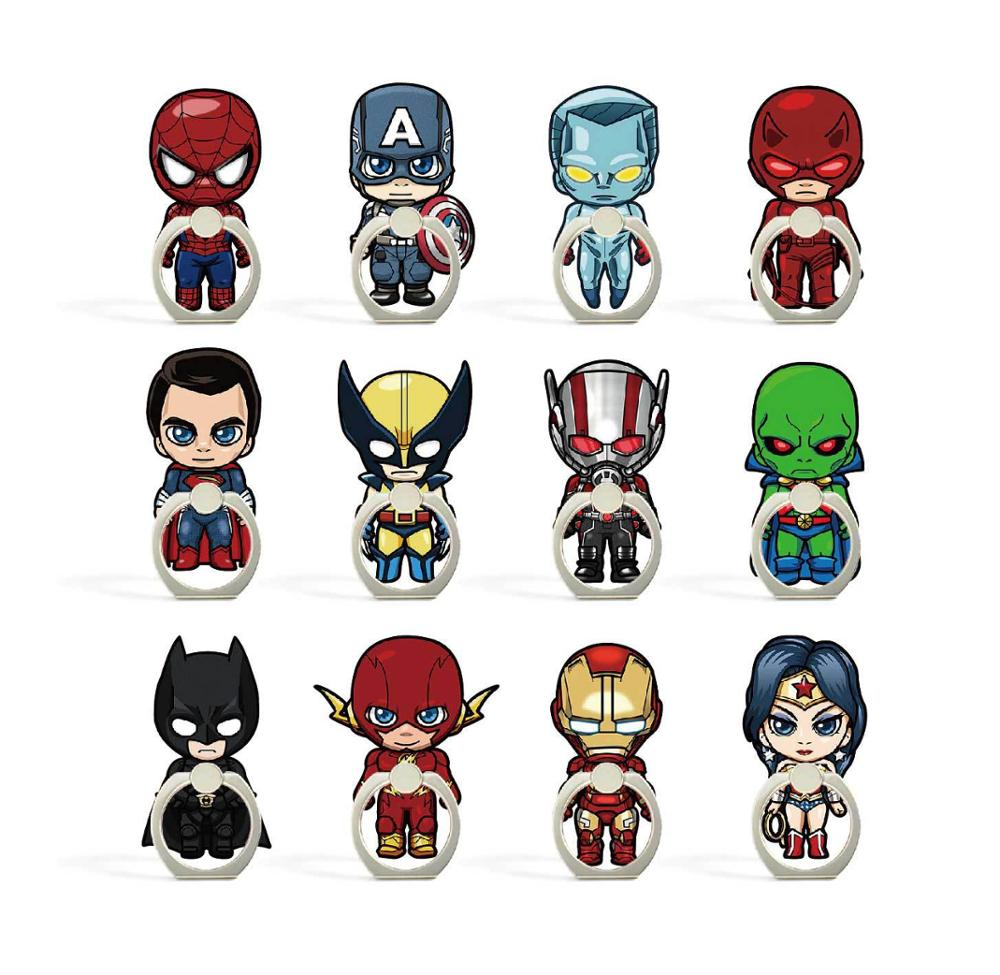 Cartoon Character Phone Holder Ring Mobile Phone Stand The Avengers Finger Phone Ring Holder Rotate 360 Degrees Support Celular