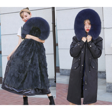 купить Women Winter Jacket Real Fur Coat Long Parka waterproof women coat Natural fox Fur Collar Thick Warm Real Rex rabbit hair Liner дешево