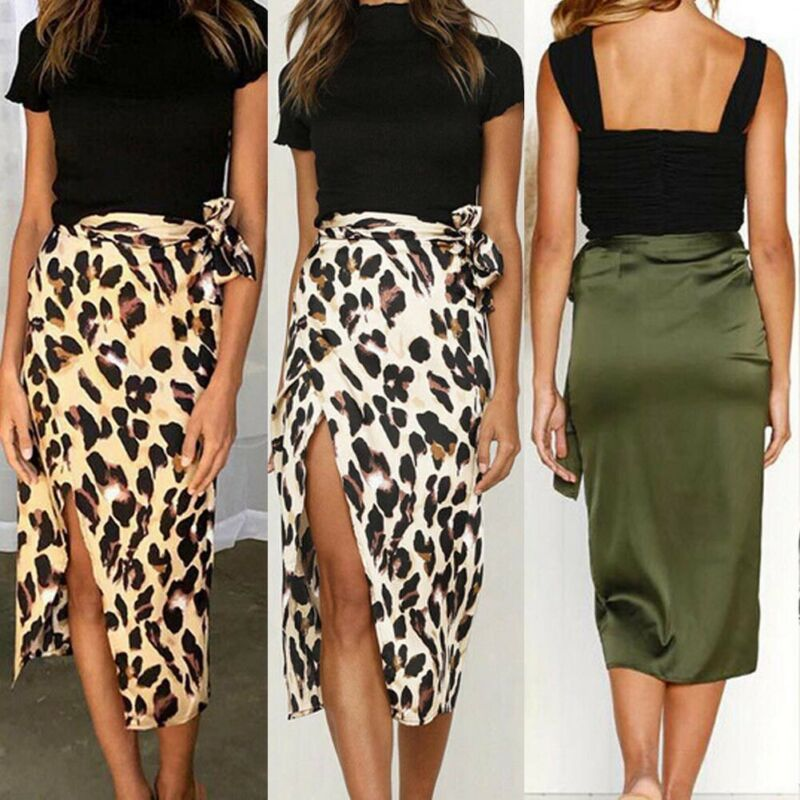 Women Midi Skirt Summer Elegant High Waist Leopard Print Bandage Ladies Party Street Split Long Skirts