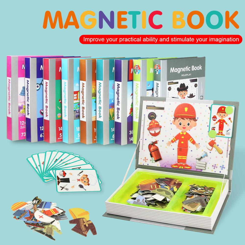 10 Types Children's Intelligent Magnetic Book 3D Puzzles Jigsaw Brain Training Game Educational Toys For Kids Xmas Gift