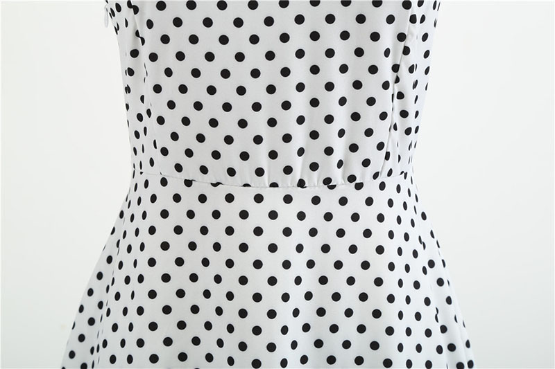 Sexy Retro White Polka Dot Dress 2019 Audrey Hepburn Vintage Halter Party Dress 50s 60s Pin Up Rockabilly Dress Plus Size Robe