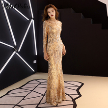 Elegant Long Sleeve Prom Dresses 2019 New Gold Sequined Mermaid Evening Dresses Long Plus Size plus size cutout bell sleeve sequined blouse