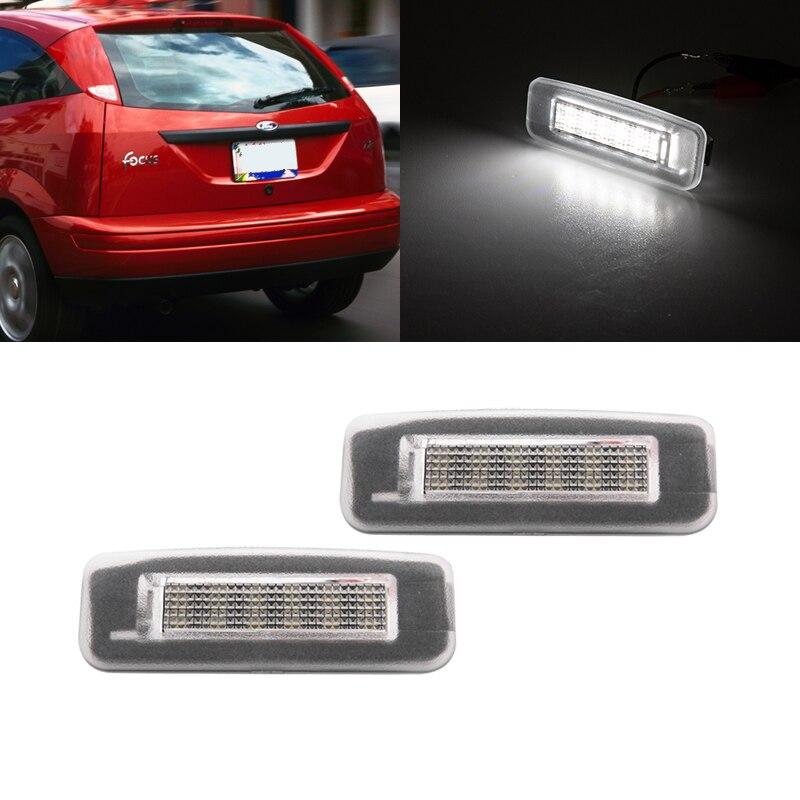 2x подходит для Ford Focus MK1 MK2 1998 1999 2000-2008 2009 2010 2011 SMD белый Canbus задние светодиодные лампы для номерного знака