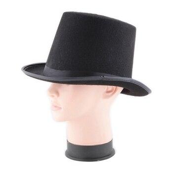 13CM/16CM Height Punk Black Hatter Top Hat Halloween Props Felt Hats Millinery/ Magician Magic Trick Cap AIC88