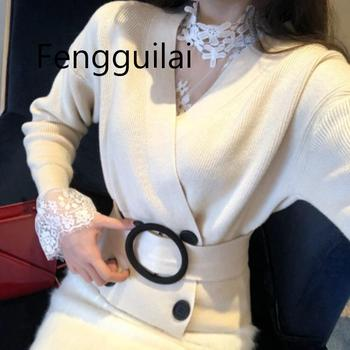 цена на New Autumn Winter High Quality Women Double Breasted Oversized Loose Cardigans Casual V-neck Chic Knitting Sweater Jacket Coat