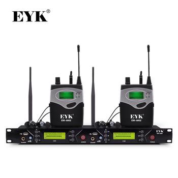 EM-6002 Wireless w ucho Monitor systemu profesjonalnego występ na scenie ucha systemy monitorowania z dwoma nadajnik osobisty tanie i dobre opinie Ucho Monitorowania Pakiet 2 PLL Synthesized 572-603 5MHz 798-830MHz 25MHz 40 Channels Separately Set 4 Groups Manual Adjust