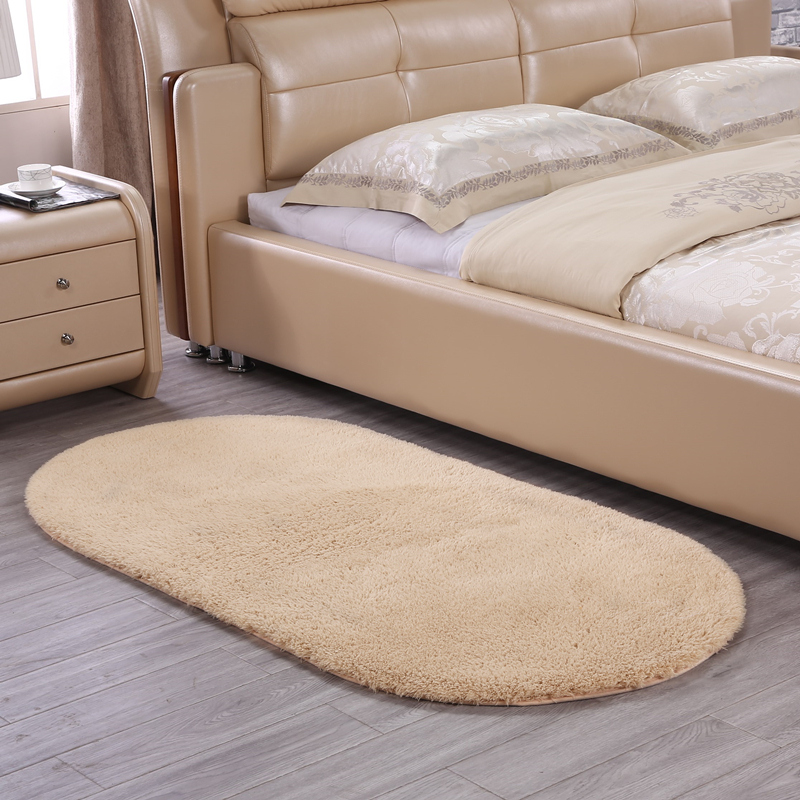 Luxurious Cashmere Pure Color Oval Carpet Bedside Blanket Pad High Density Thicken Rugs Doormat Parlor Foyer Bedroom Floor Mat
