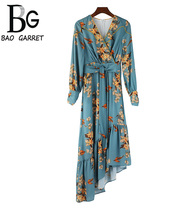 Baogarret Spring Fashion Dress Women's Vintage V-Neck Ruffles Floral Printed Elegant Bow Tie Asymmetrical Ladies Dresses asymmetrical bow tie shoulder tee