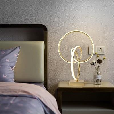 Lámpara de mesa LED Art Deco para living room bebroom lámpara de decoración de escritorio dorada lámpara de escritorio de estilo moderno para la decoración del hogar - 2