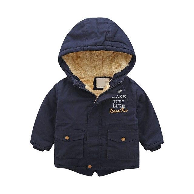 Chemise zippée pour enfants européenne et américaine hiver nouvelle broderie de lettre pour enfants de petite et moyenne taille avec épaissi