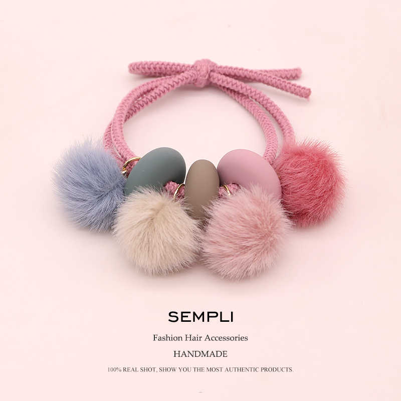 Sempli High Quality Hair Bands Hair Claws for Women Ponytail Human Hair Elastic Rubber Bands Ribbon Hairball Girls Headbands