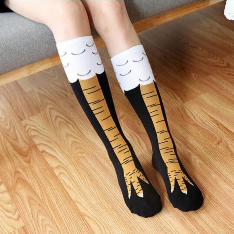 3D Funny Chicken Women's Thigh Socks Winter Autumn High Sock 3D Cartoon Ainimals Cute Funny Thin Toe Feet Ladies Creative Socks