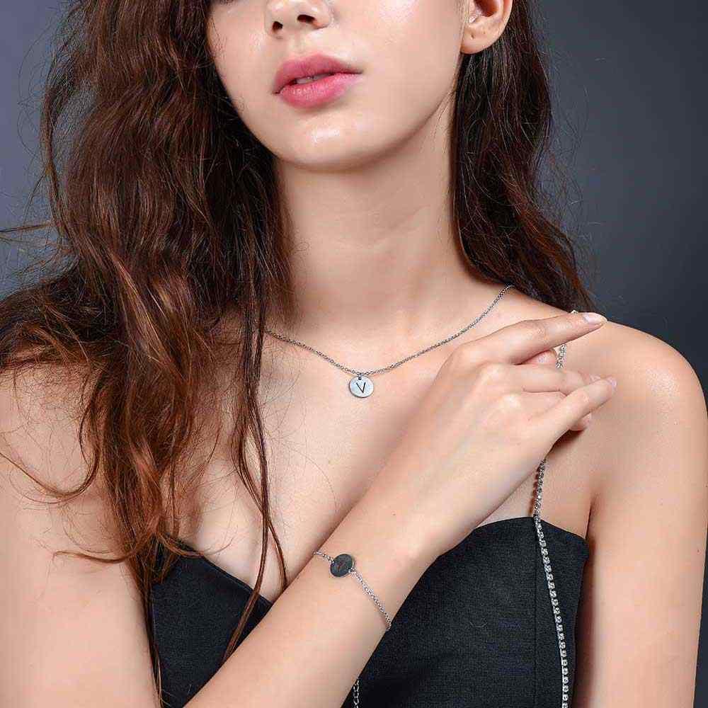Сказочный 100% настоящая нержавеющая сталь A-Z начальное название очаровательный браслет с буквой для женщин Женский AAAAA качественный браслет