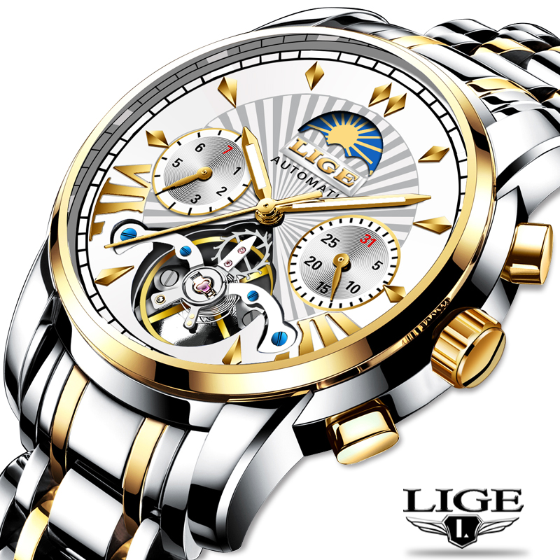LIGE Official Store Mens Watches Top Brand Luxury Automatic Mechanical Business Clock Gold Watch Men Reloj Mecanico de Hombres|Mechanical Watches| - AliExpress