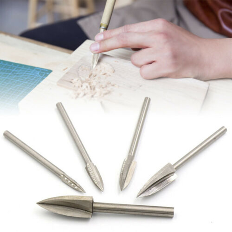 5 Pcs/set Wood Carving Engraving Drill Bit Milling Cutter Carving Root Tools Woodworking LKS99