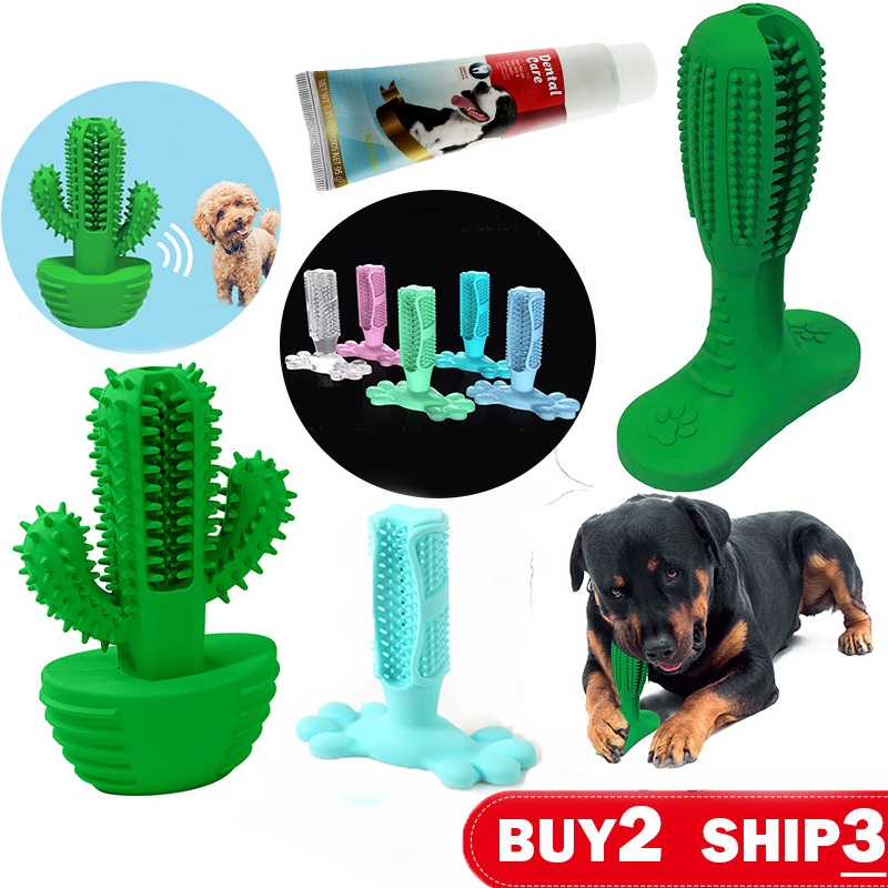 Dog Toys Squeaker Toothbrush Chewing Biting Pet Toys Sound Cleaning Tooth Paste Dog Toys Small Puppy Medium Large Dog Supplies image