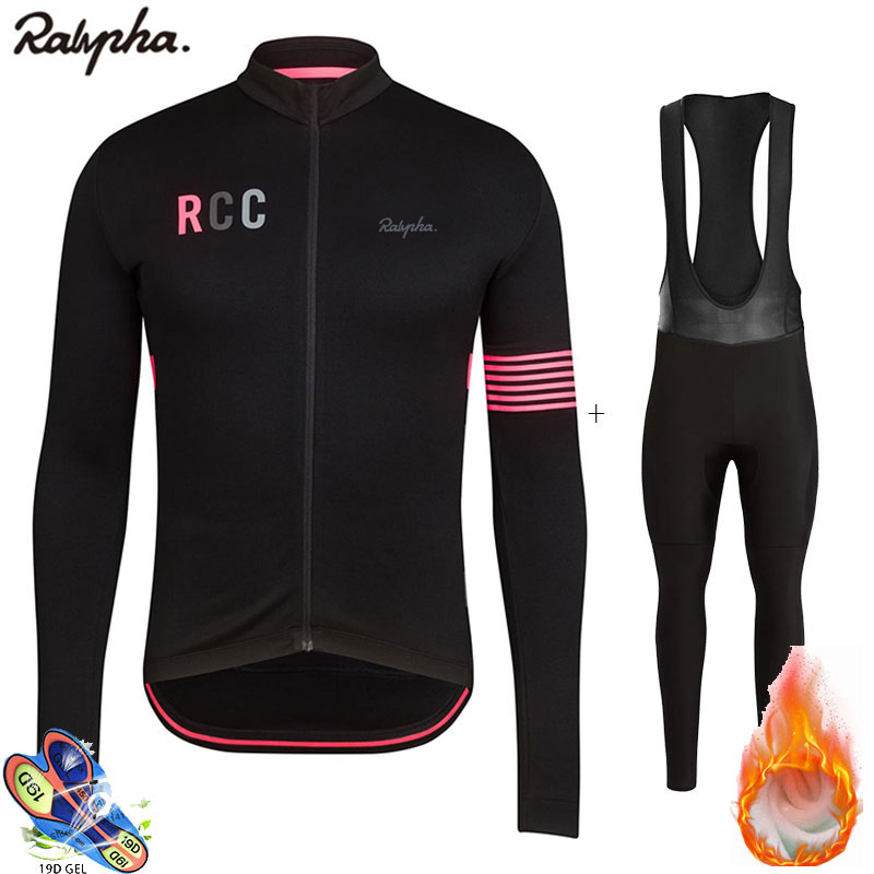 Raphaing Cycling 2019 Rcc Winter Warm Fleece Jersey Bib Trousers Set Ropa Ciclismo Invierno Bicycle Men's Sportswear Set Wool