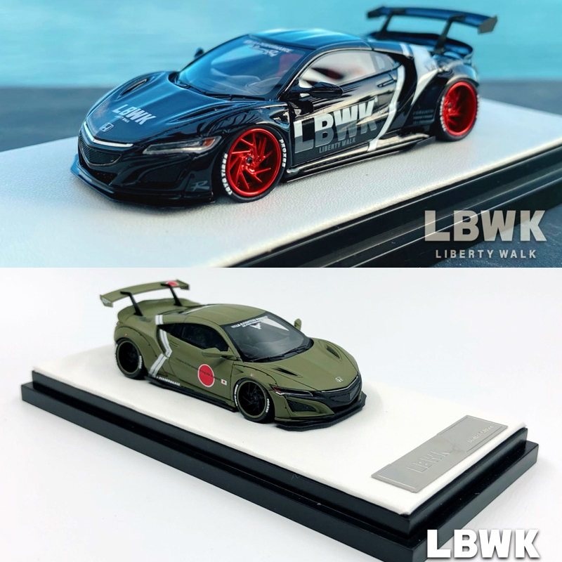Timothy & Pierre TP-Coche de resina modelo Honda NSX LBWK Black/Zero Fighter Green, rendimiento de 1:64 LB