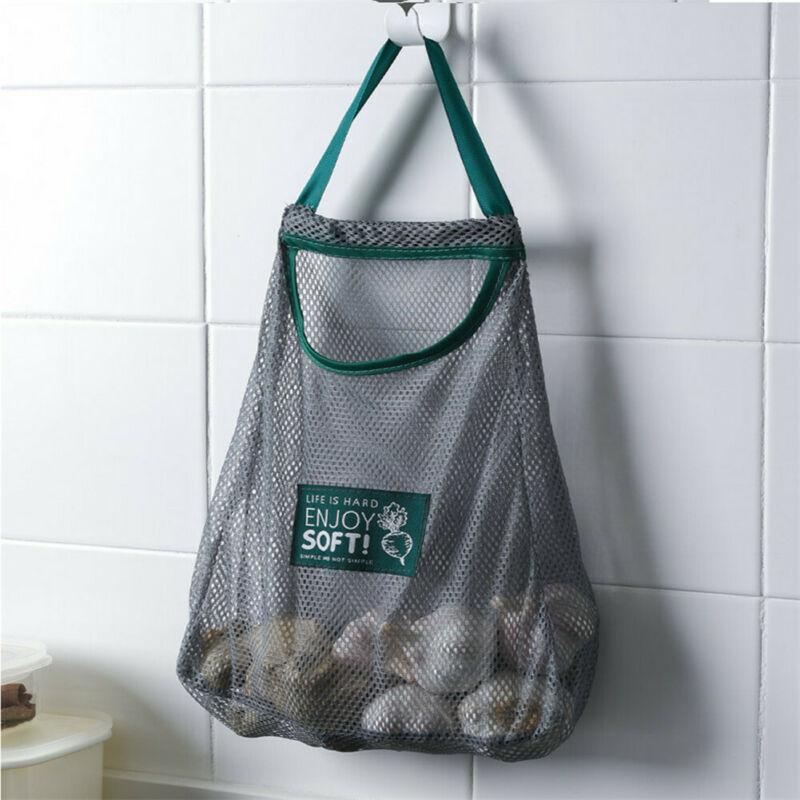 Breathable Mesh Net Grocery Bag Holder Organizer Kitchen Wall Onion Garlic Vegetable Hanging Mount Storage Dispenser Plastic Bag