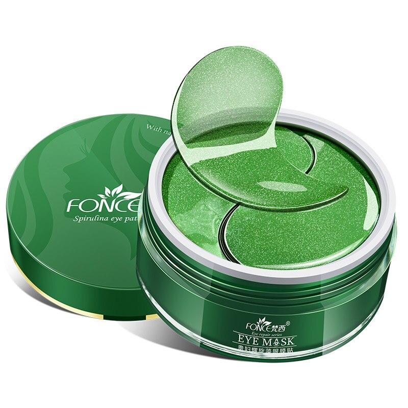 Parches coreanos de colágeno Ojo de cristal, máscara de esencia vegetal para reducir las ojeras, bolsa antienvejecimiento para los ojos, arrugas, té negro, espirulina|Cremas|   - AliExpress