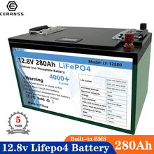 Lifepo4 סוללה תאי 12v 280Ah Built in BMS ליתיום כוח סוללות עמיד למים נטענת סוללות לרכב VR האיחוד האירופי לא מס