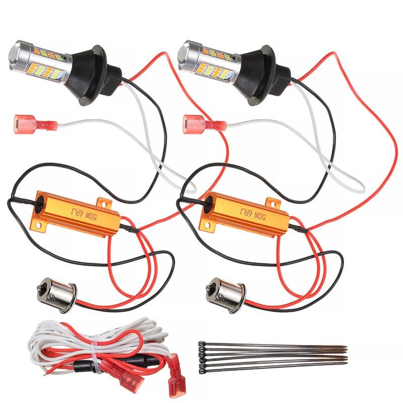 2 шт./компл. 1156 P21W S25 BA15S 42LED Белый DRL Янтарный светильник сигнала поворота с декодером комплект для Автомобильный светильник ing