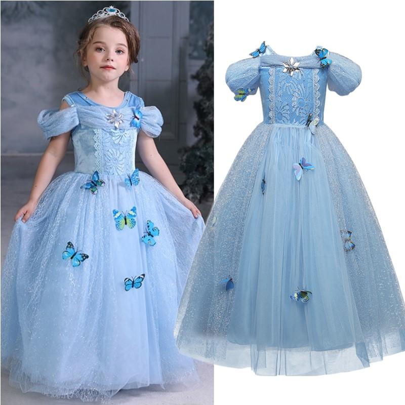 Girls Dress Elsa 2 Dress Party Vestidos Girl Clothing Anna Snow Queen Print Birthday Princess Dress Elza Kids Cosplay Costume