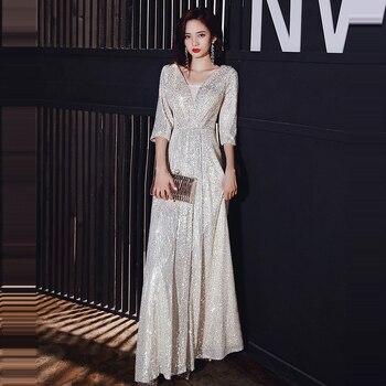 Three Quarter Sleeve Evening Dresses Long Elegant Women Party Dresses K133 V-Neck Robe De Soiree Champagne Sequined Formal Dress