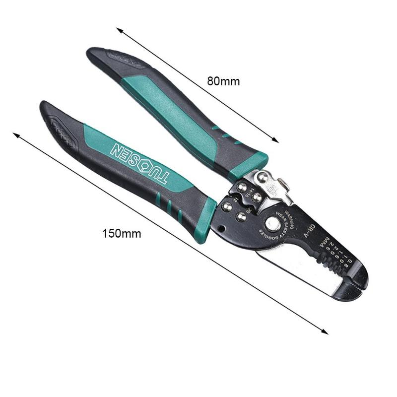 TUOSEN Spring Cable Stripping Scissors Wire Cutter Clamping Pliers Hand Tool Rust proof and Corrosion resistant - 2