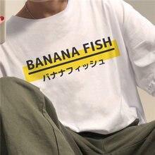 Bl japonês anime banana peixe mulher t camisa y2k harajuku streetwear solto topos sayonara carta impressão de manga curta gótico t