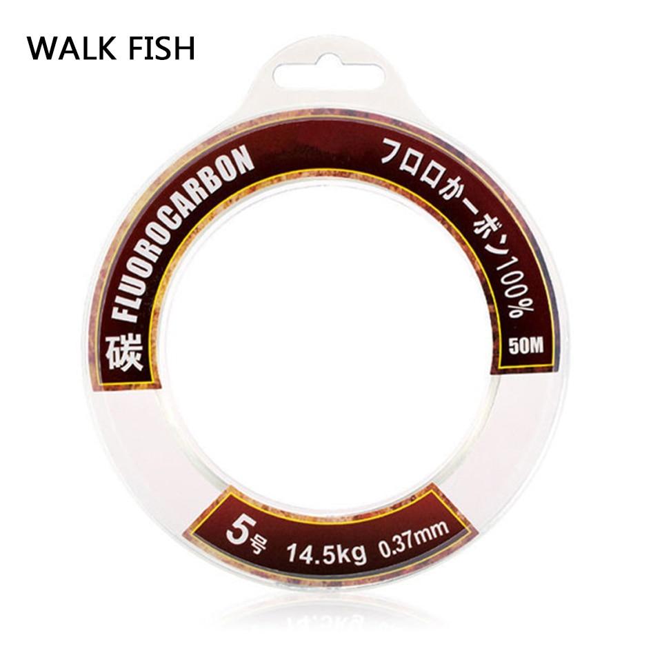 Walk Fish 50M 100M 100% True Fluorocarbon Fishing Line Carbon Monofilament Leader Carbon Fiber Fly Fishing Cord