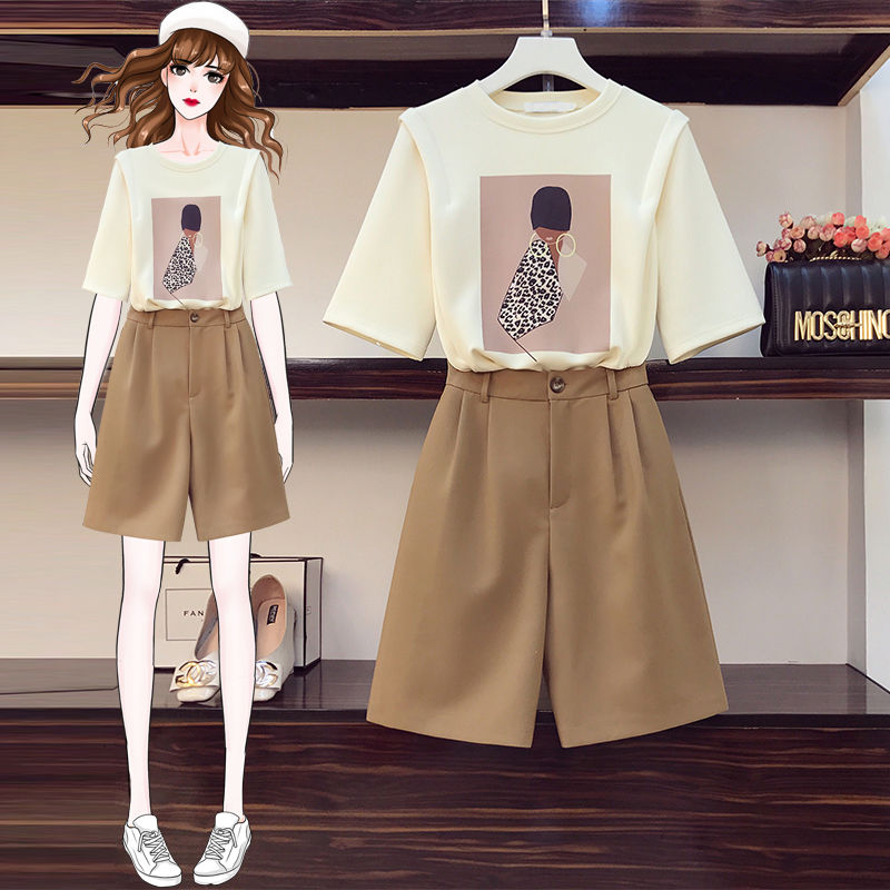 2021 Fashion Women's Summer New Style Printed Thin Half-sleeved Short-sleeved Cotton T-shirt Suit Shorts Girl Two-piece Suit