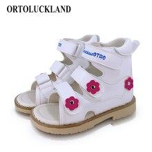 Ortoluckland 子供女の子の靴ベビーサンダル整形外科靴キッズ幼児韓国白カジュアルウォーキングサンダルフラットシューズ