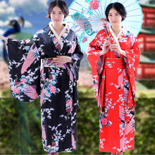 Women's Japanese Traditional Costumes Kimono Dress with Obi Bathing Robe Yukata for Women Dance Wear 1.14(China)